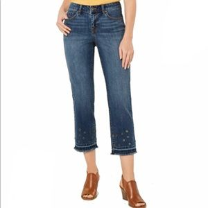 Style & Co Crop Jeans 16 Straight Grommets NEW